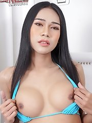 Watch busty ladyboy Marky stroking her hard cock until she pops a nice sticky load!