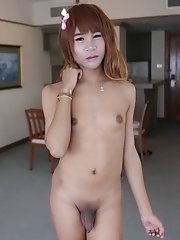 19 year old redhead Thai ladyboy sucks off tourist and licks up his cumshot