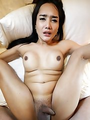 25 Year Old Sexy Thai Ladyboy Strips Down And Gets Fucked By White Cock