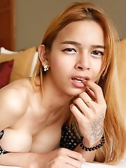 Sexy 20yo Thai ladyboy gets ass stretched by big white cock