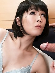 Japanese ladyboy Yoko  gives a blowjob and jerks off