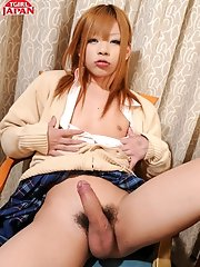 Sayaka Ayasaki is a very sexy Japanese tgirl. Watch her take out her nice hard cock from underneath her school girl skirt and stroke it for you.